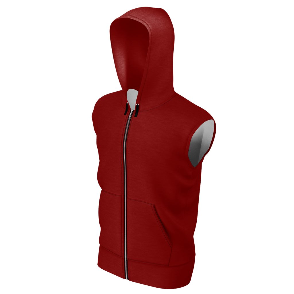 Remember the Lost Men's Sleeveless Zip 2 Panel Lined Hoodie 350GSM (Maroon)