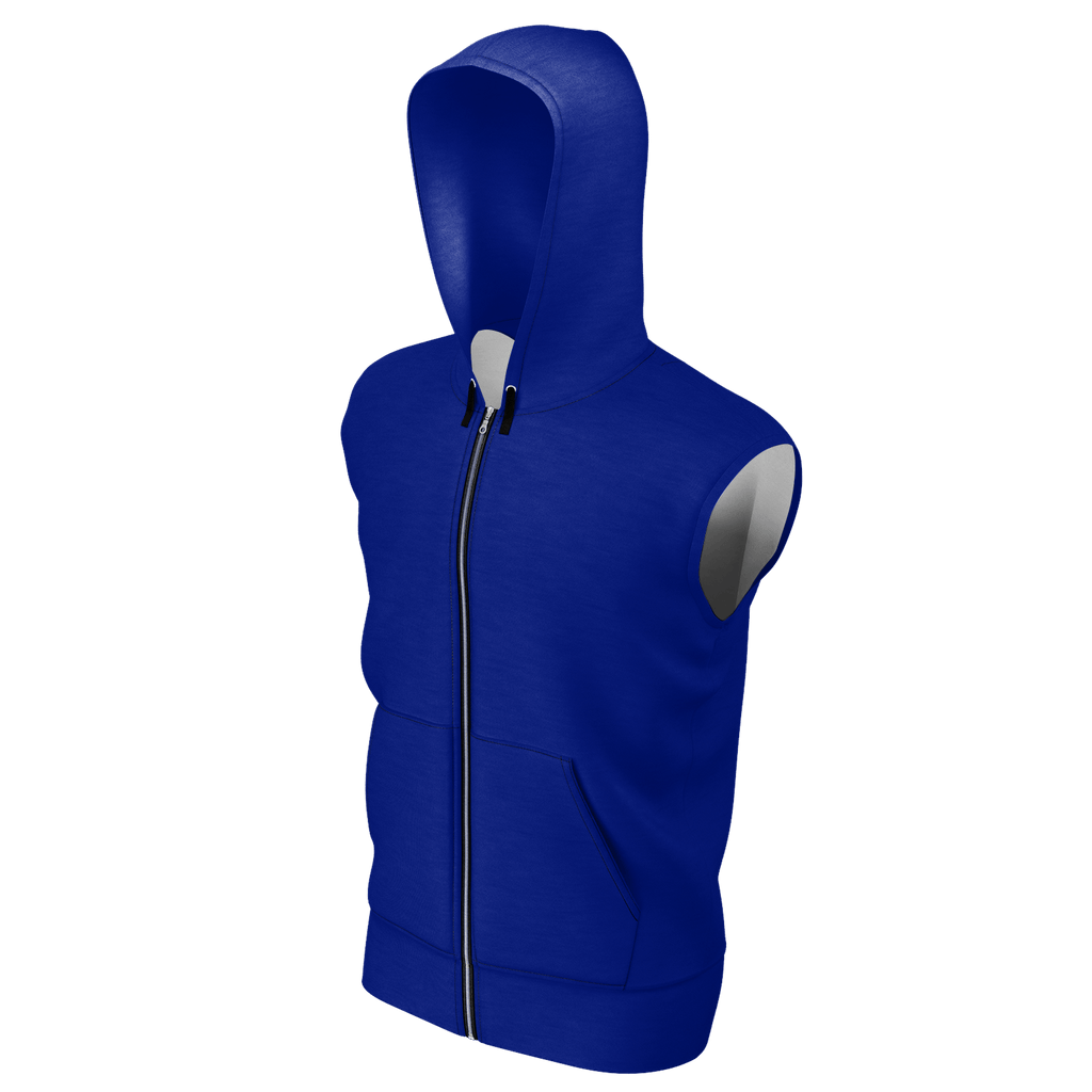 #StayHome Men's Sleeveless Zip 2 Panel Lined Hoodie 350GSM (Navy 2)