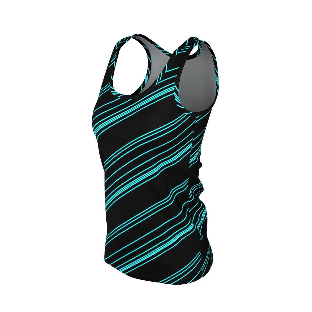 Cyan/Black Diagonal Striped Women's SJ Tank Top