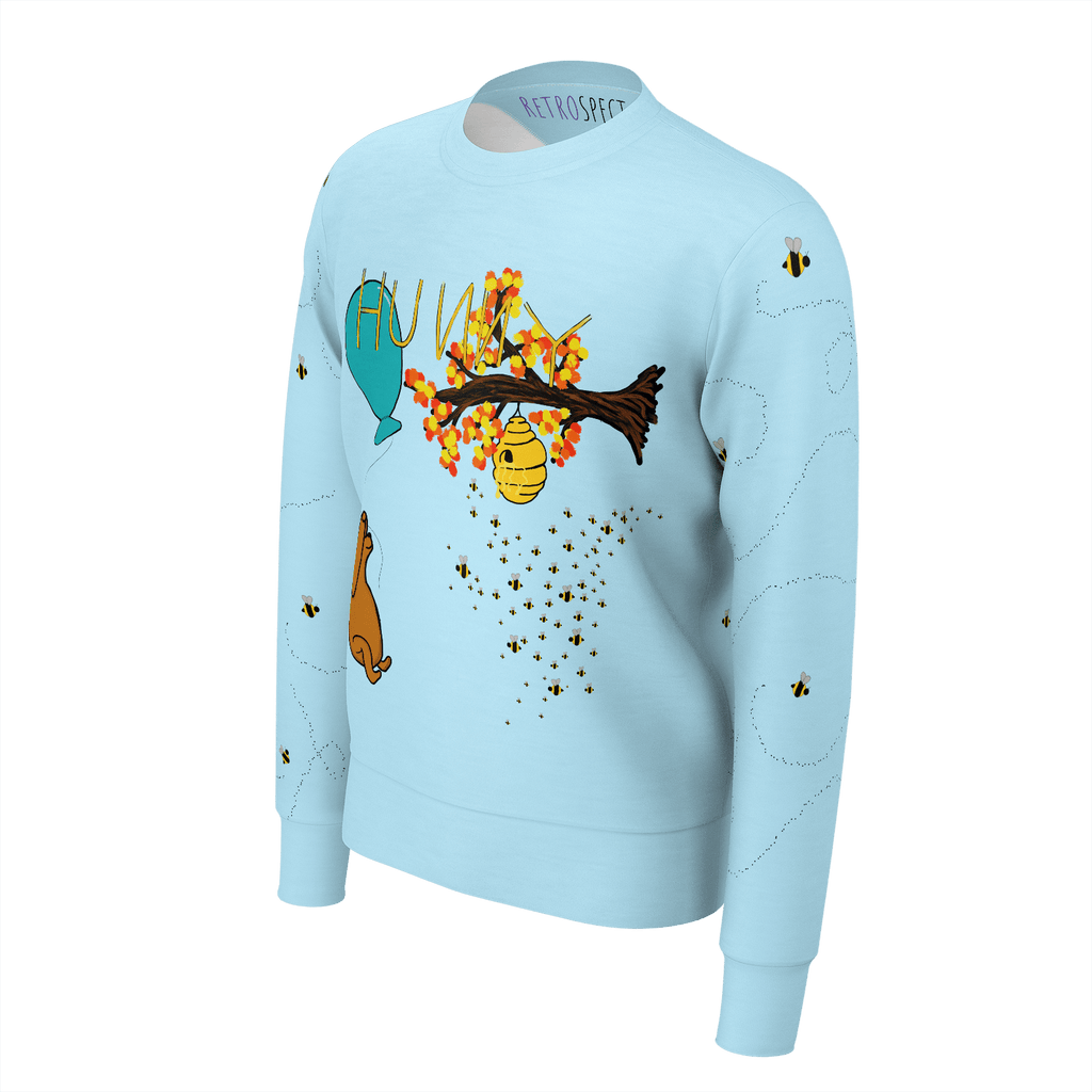 HUNNY Men's Sweatshirt w/bees (Light Blue)