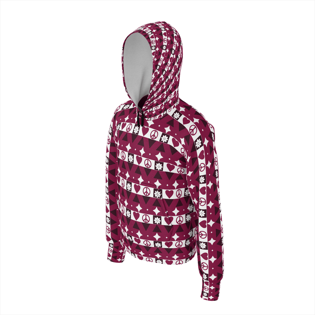 Peace and Love pattern hoodie