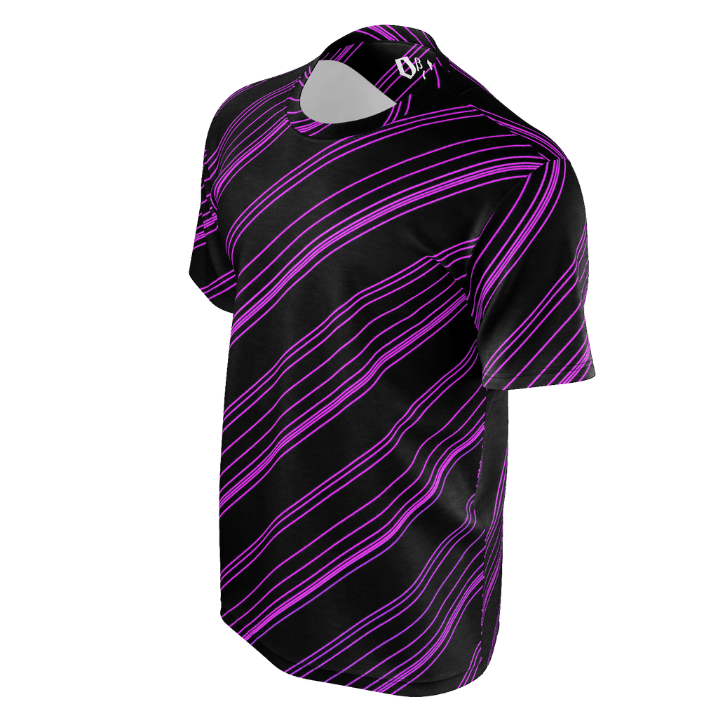 Purple/Black Diagonal Striped Men's T-Shirt