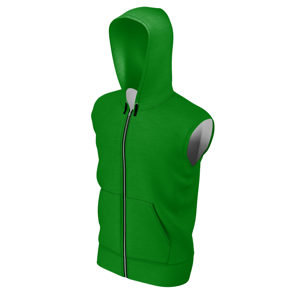 Remember the Lost Men's Sleeveless Zip 2 Panel Lined Hoodie 350GSM (Green)