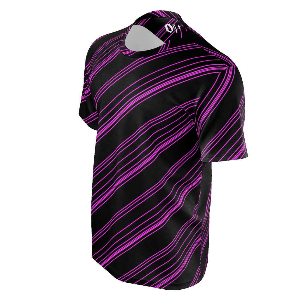 Pink/Black Diagonal Striped Men's T-Shirt