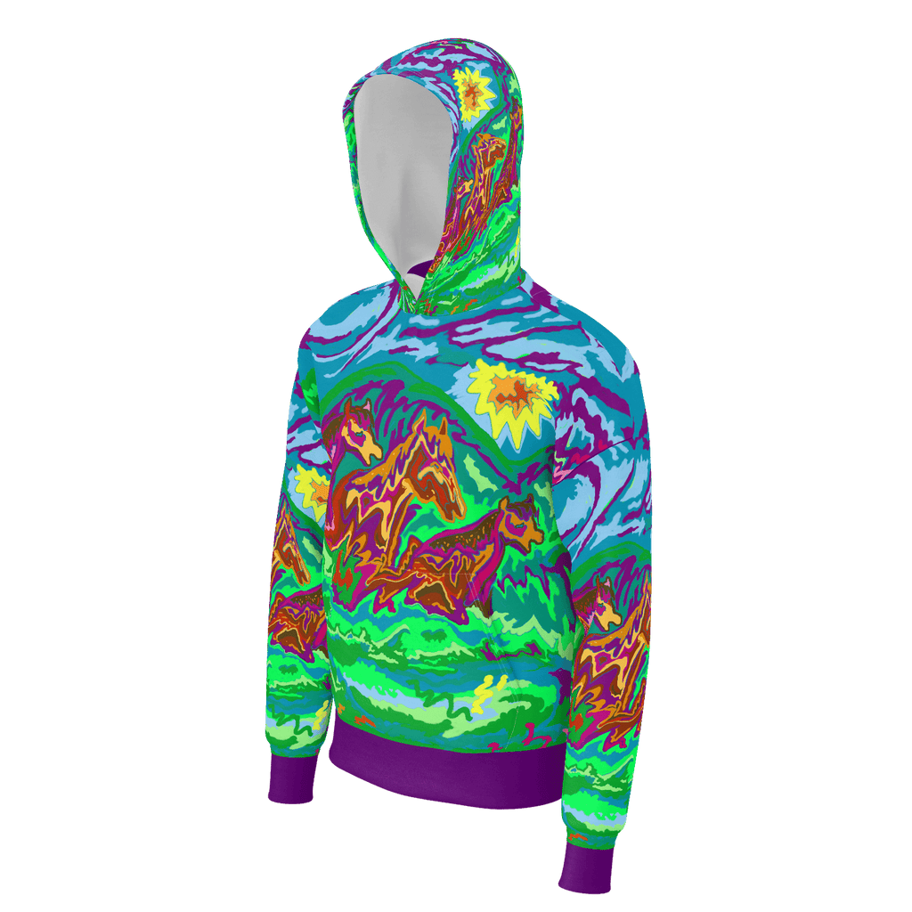 Purple Feathered Horses Art Hoodie
