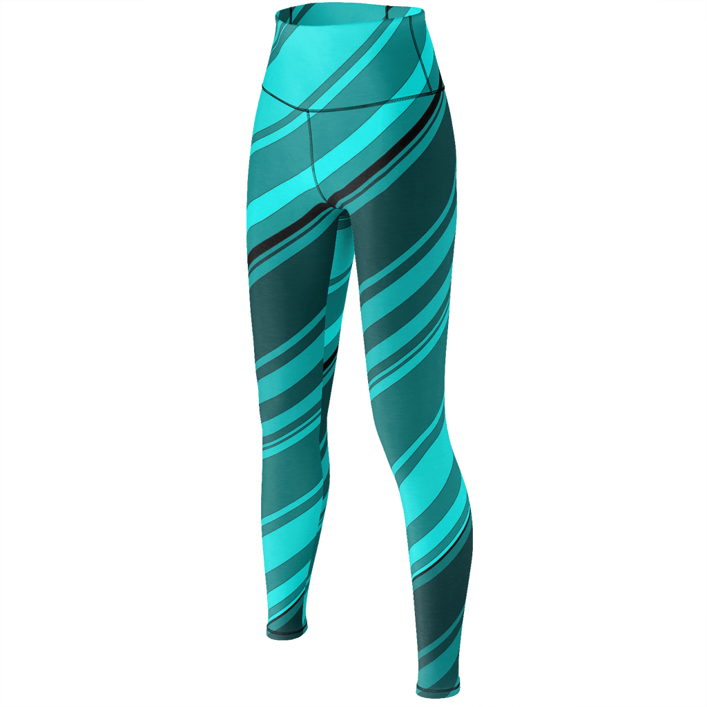 Black/Cyan Diagonal Striped Yoga Pants