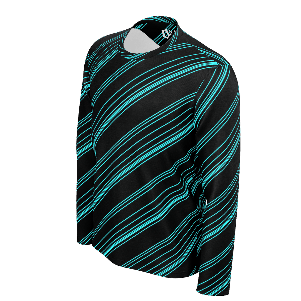 Cyan/Black Diagonal Striped Men's Long Sleeve SJ T-Shirt