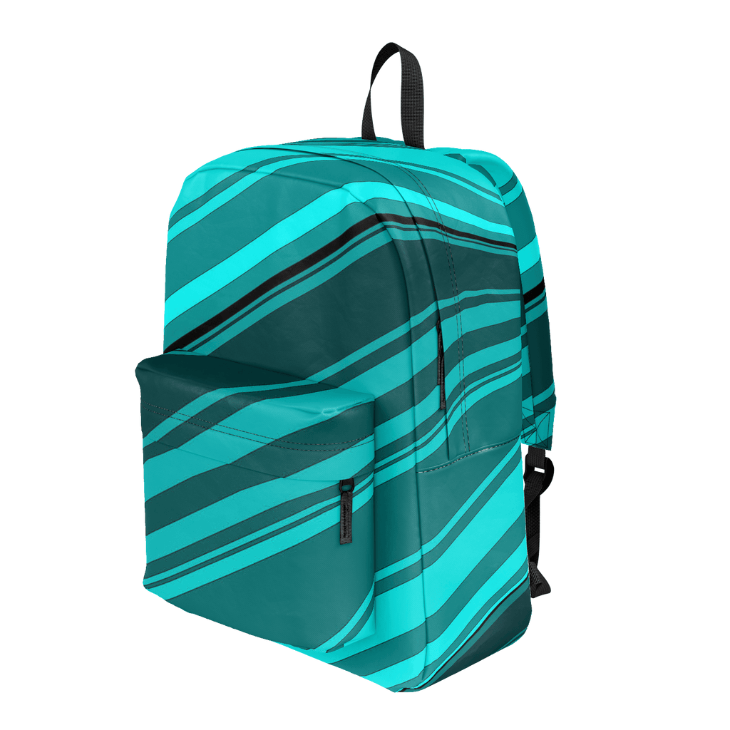 Black/Cyan Diagonal Striped Classic Backpack