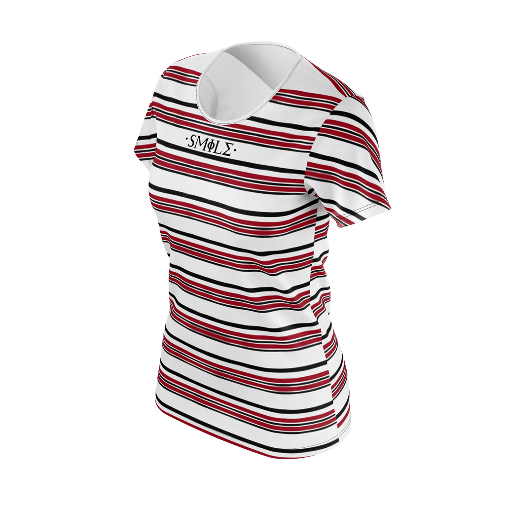 Smile Striped Womens T-Shirt