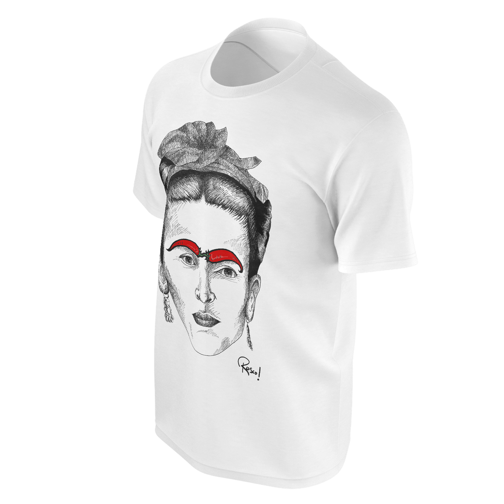 'Frida Kahlo with Chilli Eyebrows' Tshirt - Mens White