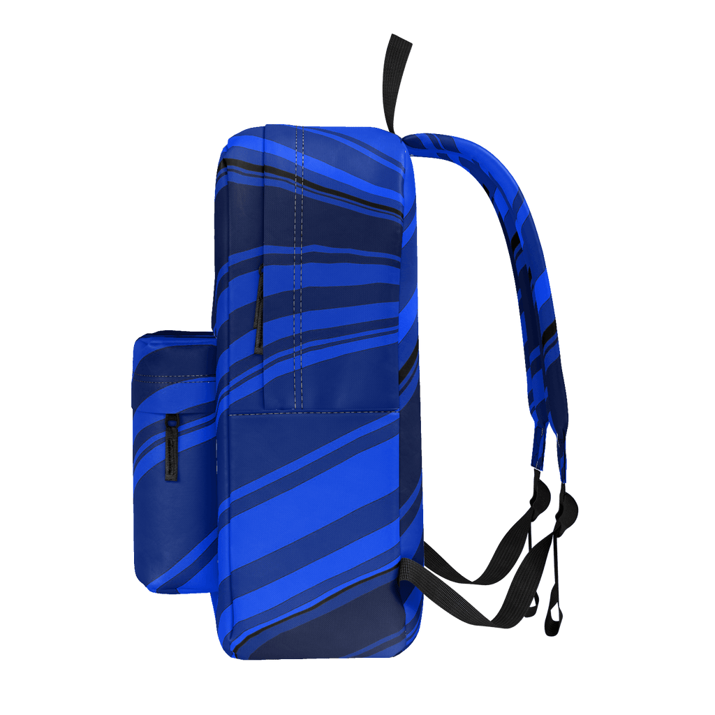 Black/Blue Diagonal Striped Classic Backpack