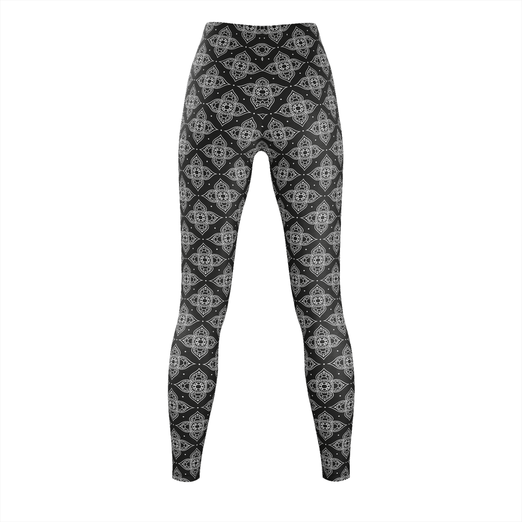 Floral Black And White Thai Pattern