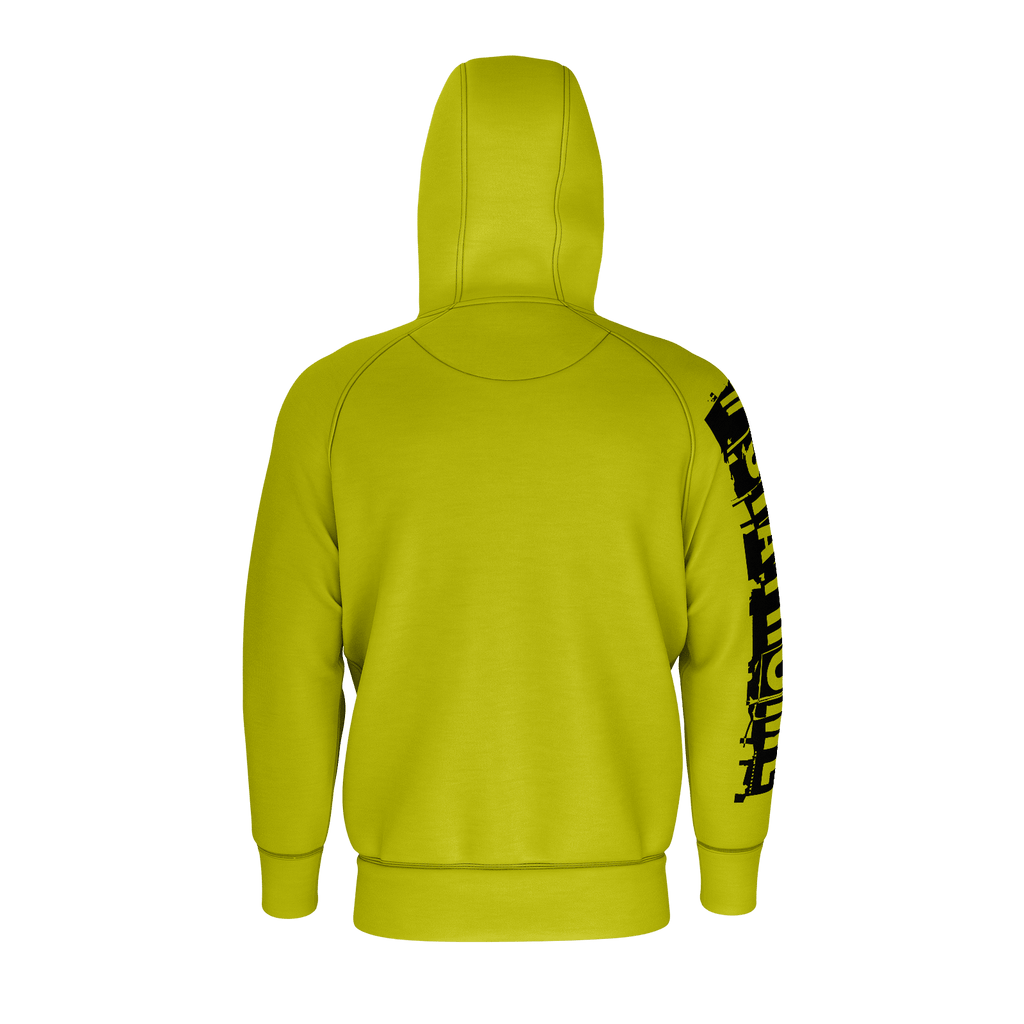 #StayHome Men's Raglan Zip Hoodie 260GSM Cotton (Mustard 2)