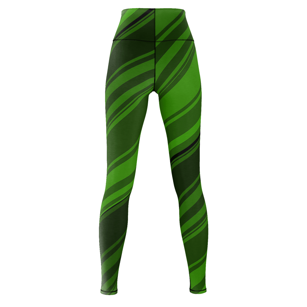 Black/Green Diagonal Striped Yoga Pants