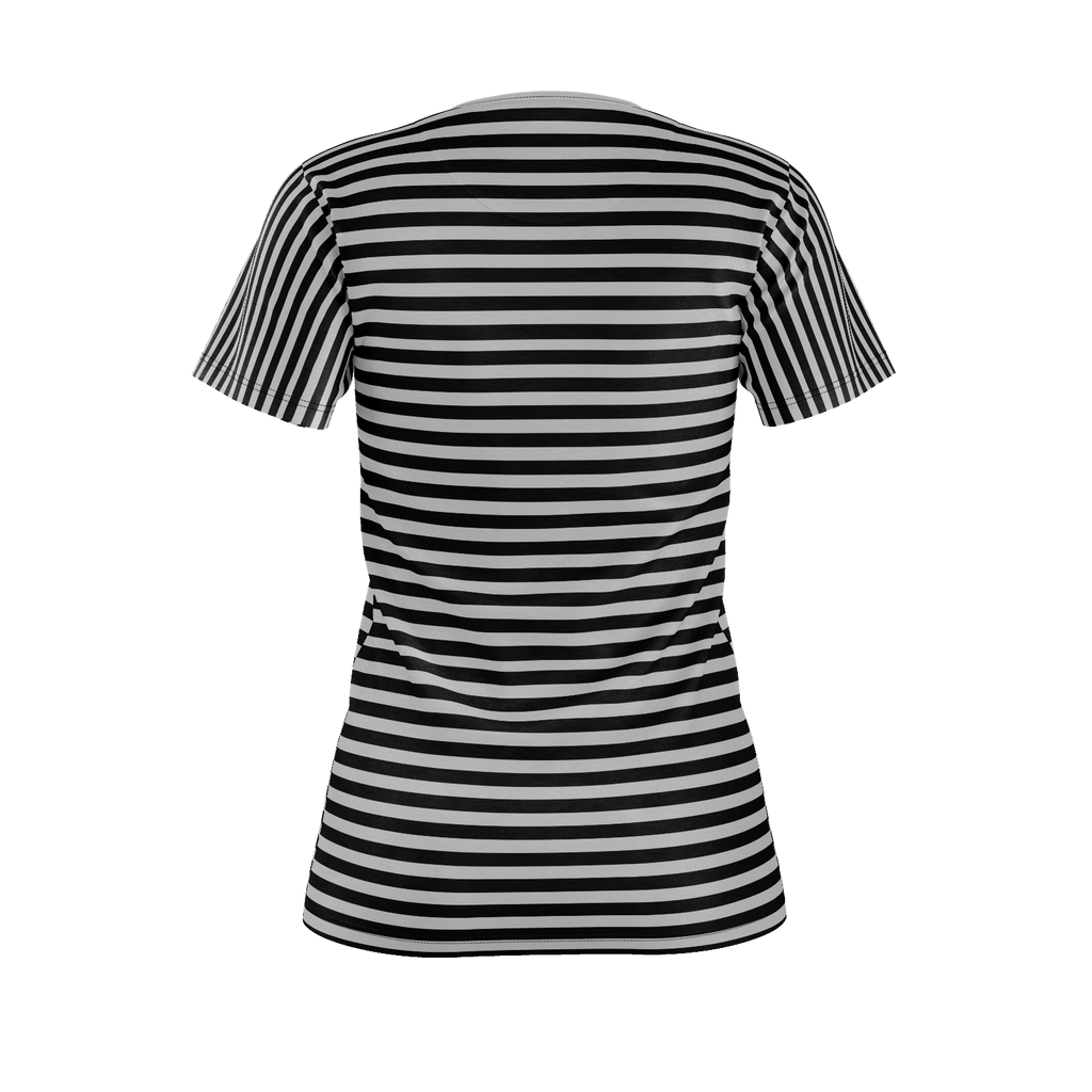 Smile Striped Womens T-Shirt Gray