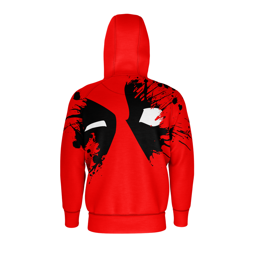 Deadpool Splatter Men's Raglan Zip Hoodie 260GSM Cotton