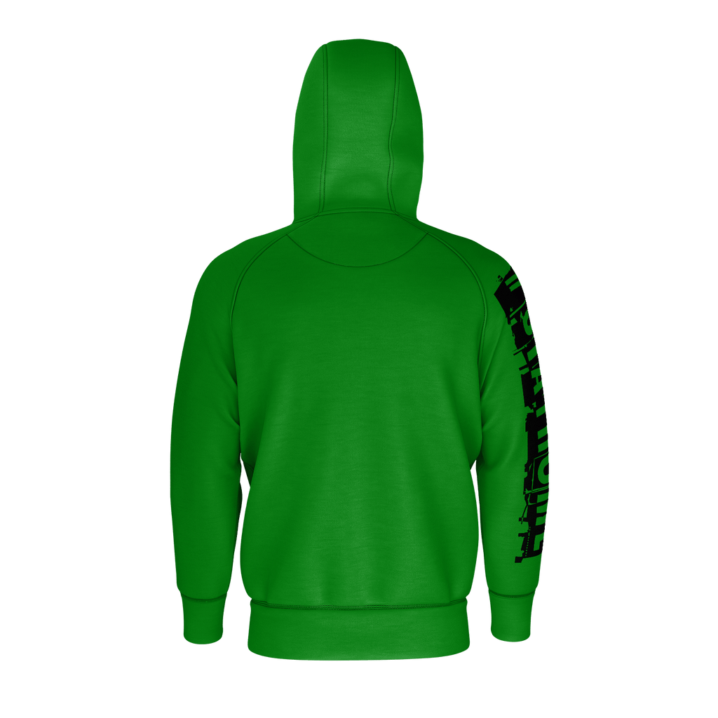 #StayHome Men's Raglan Zip Hoodie 260GSM Cotton (Green 2)