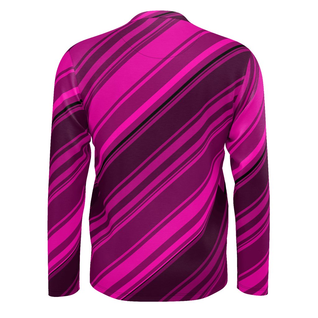 Black/Pink Diagonal Striped Men's Long Sleeve SJ T-Shirt