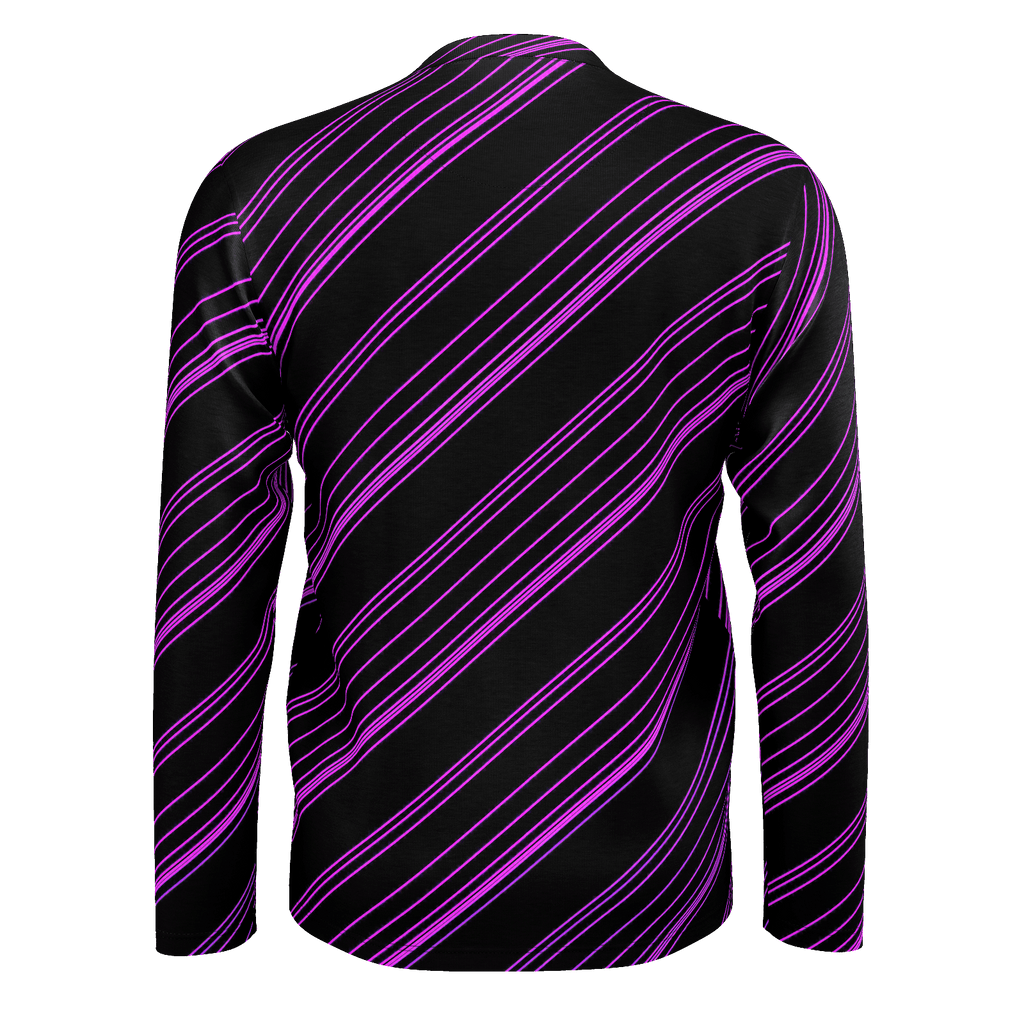 Purple/Black Diagonal Striped Men's Long Sleeve SJ T-Shirt