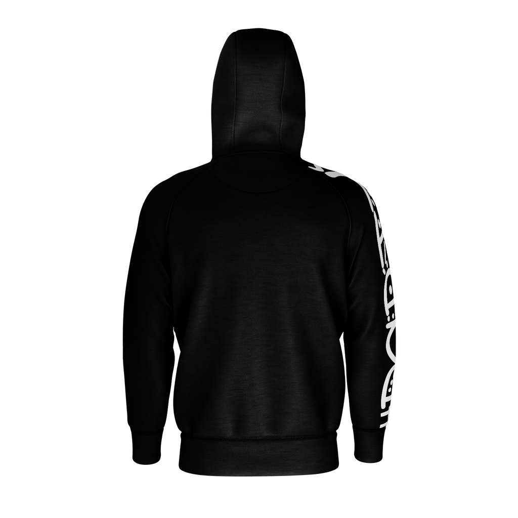 #Party Men's Raglan Zip Hoodie 260GSM Cotton (Black)