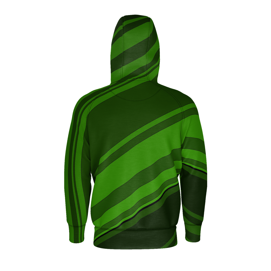 Black/Green Diagonal Striped Men's Raglan Zip Hoodie 260GSM Cotton