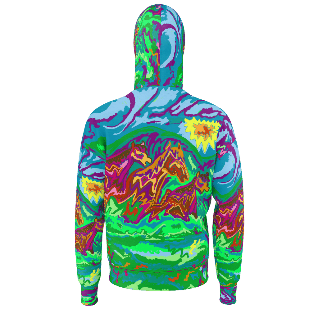 Purple Feathered Horses Art Hoodie 2