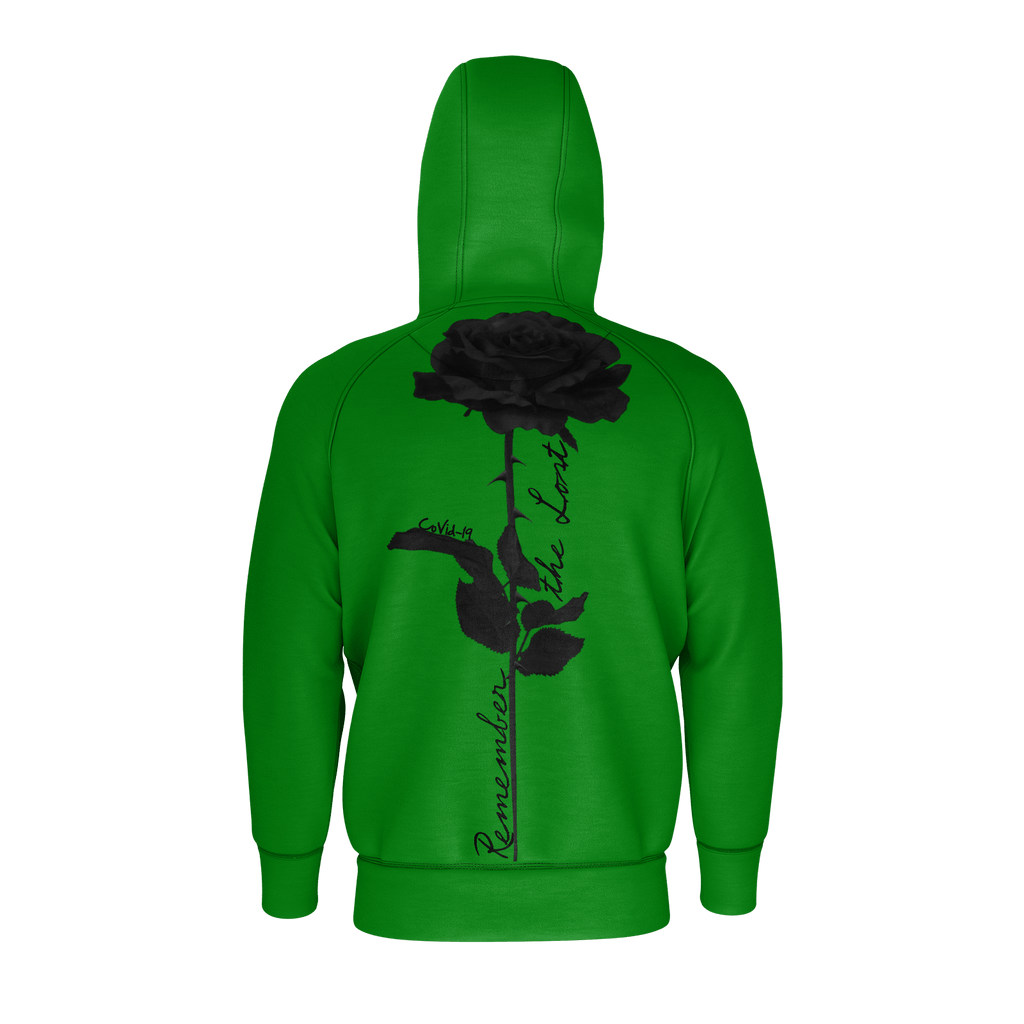 Remember the Lost Men's Raglan Zip Hoodie 260GSM Cotton (Green)