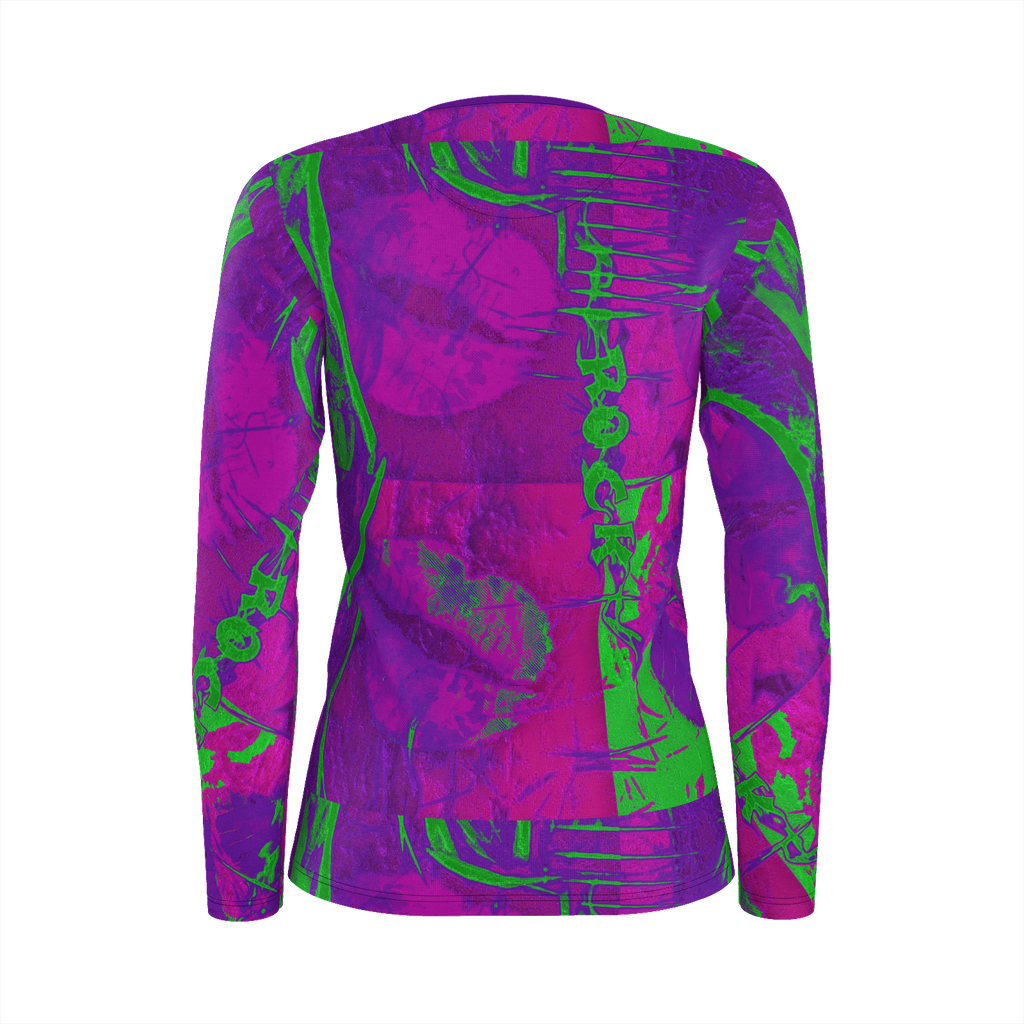 Pink and green guitar abstract long sleeve jersey