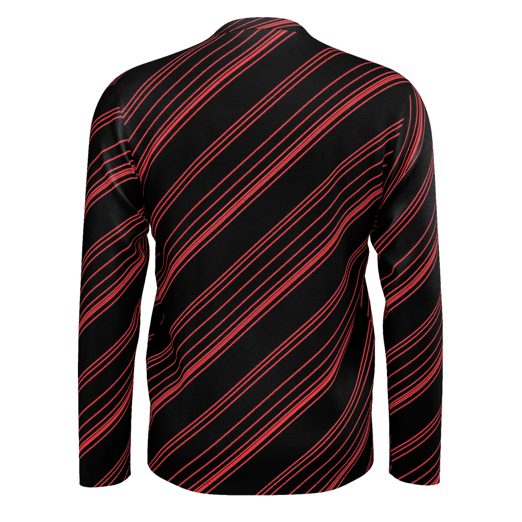 Red/Black Diagonal Striped Men's Long Sleeve SJ T-Shirt