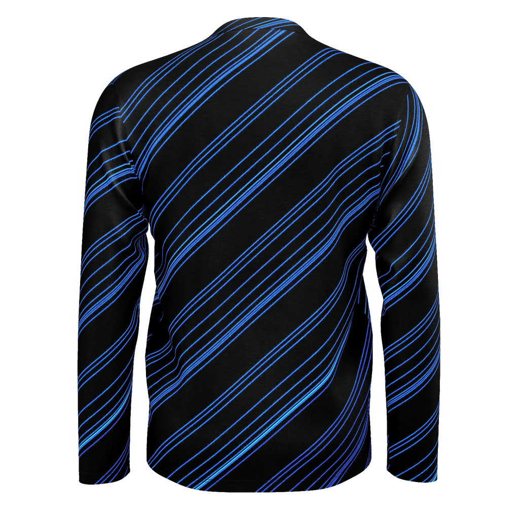 Blue/Black Diagonal Striped Men's Long Sleeve SJ T-Shirt
