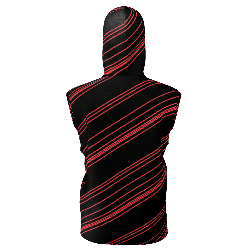 Red/Black Diagonal Striped Men's Sleeveless Zip 2 Panel Lined Hoodie 350GSM