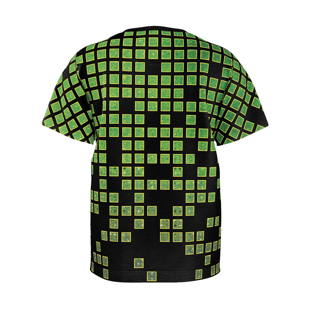 Video Game Gamer Green Black Pixels Boys T-shirt