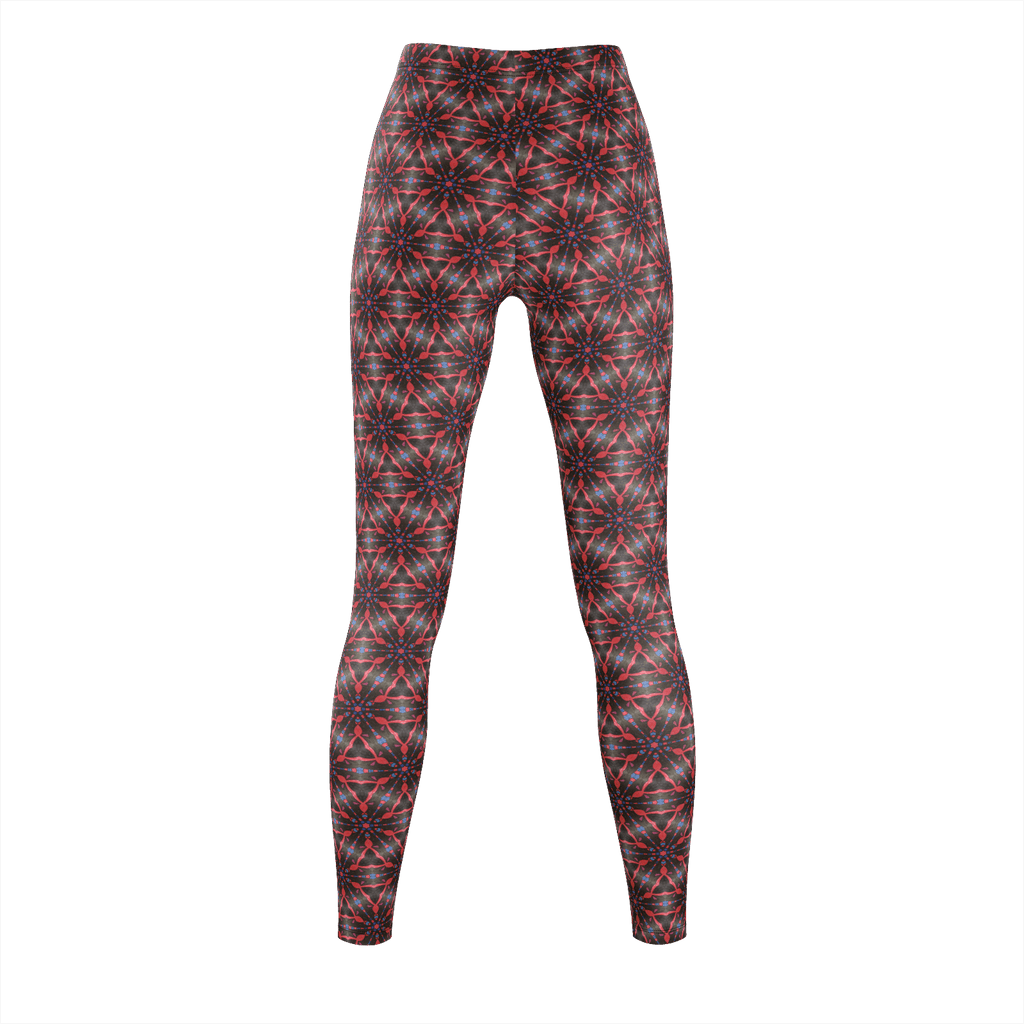Red Stars Black Center Leggings
