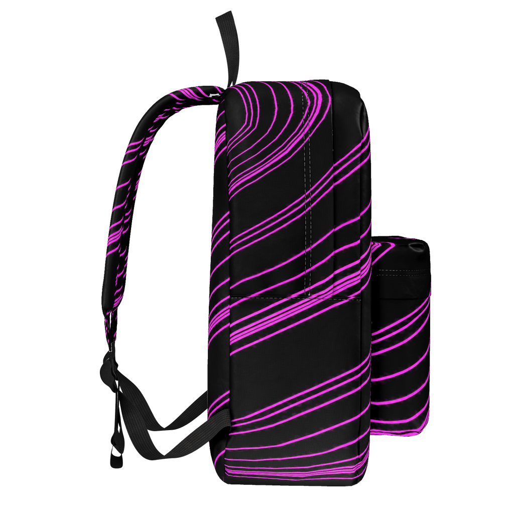 Pink/Black Diagonal Striped Classic Backpack