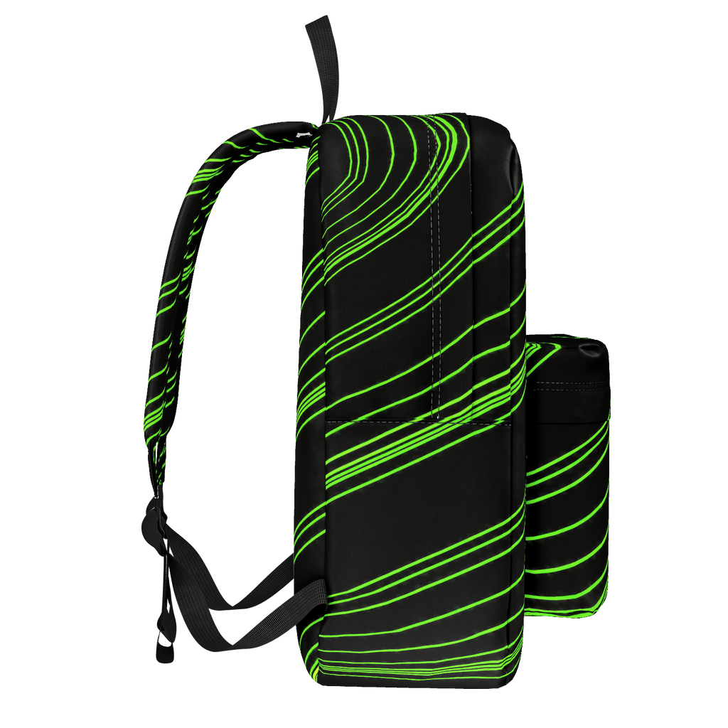 Green/Black Diagonal Striped Classic Backpack