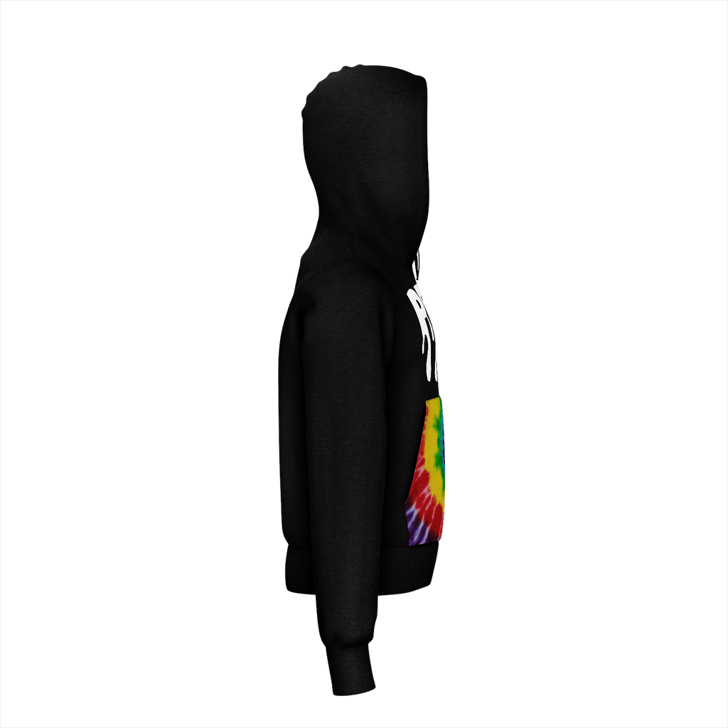 Tiedye and Black Peak Hoodie