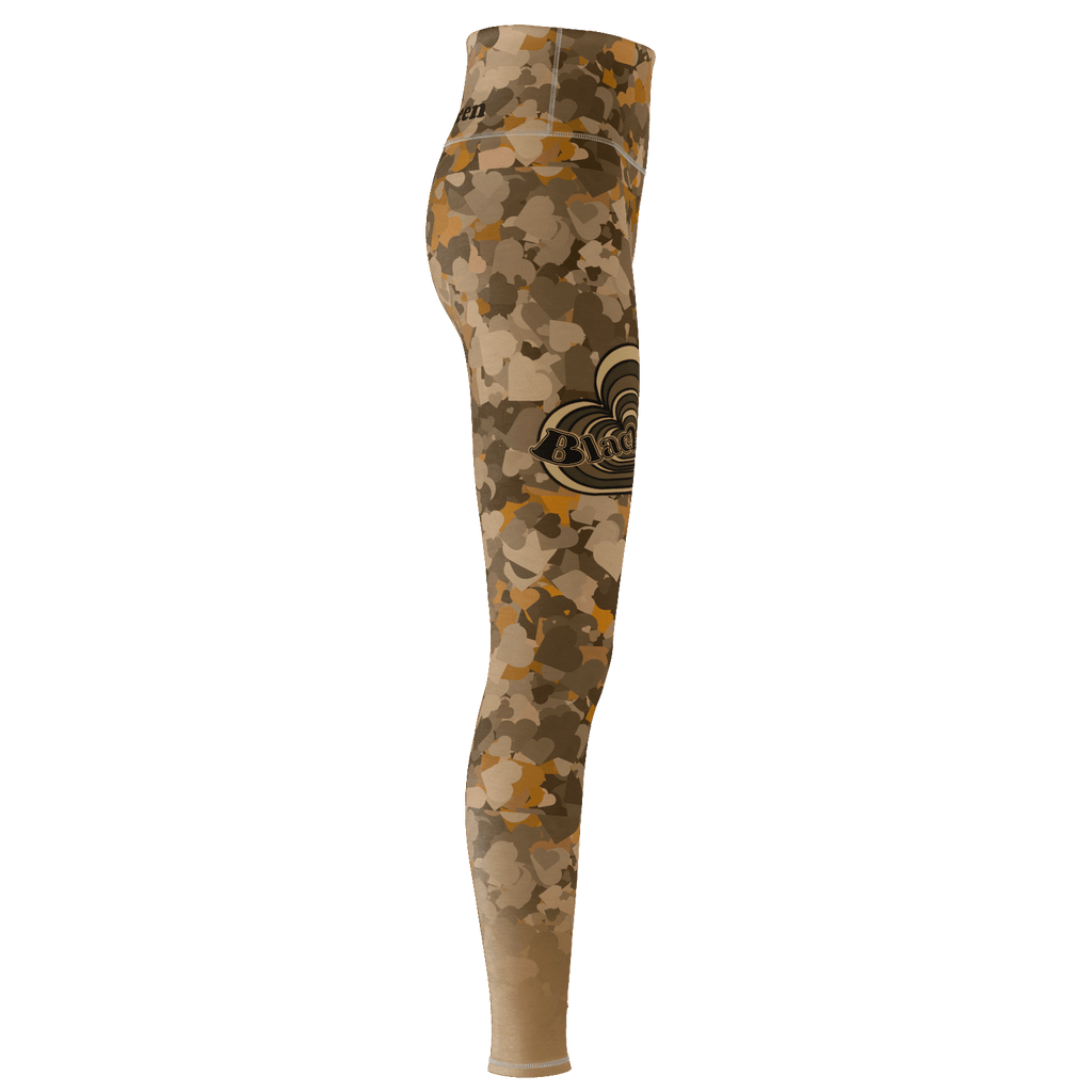 Black Queen - Love Heart on Camo Brown : Yoga Pant