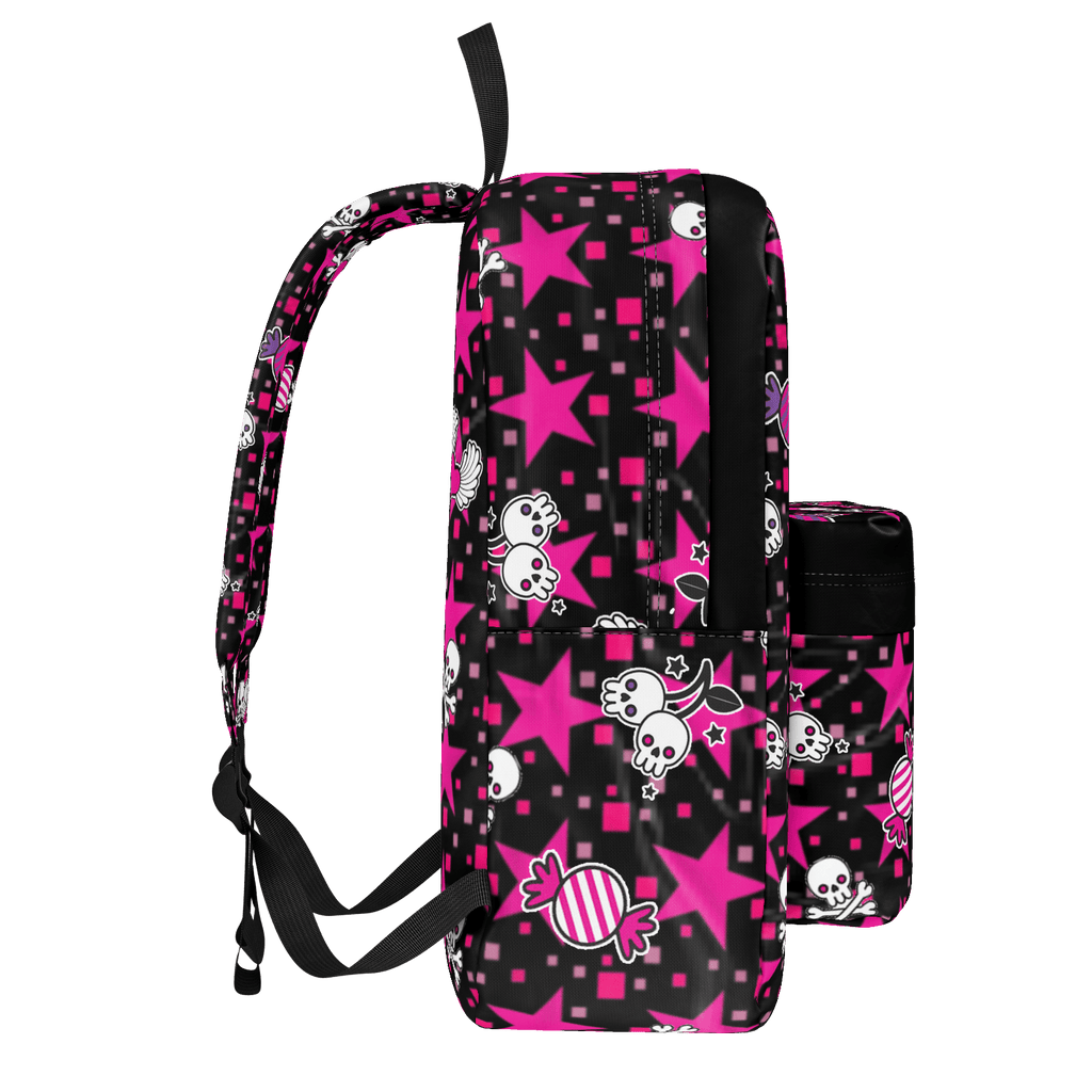 Punk Skulls and Candy Pattern on Pink Stars