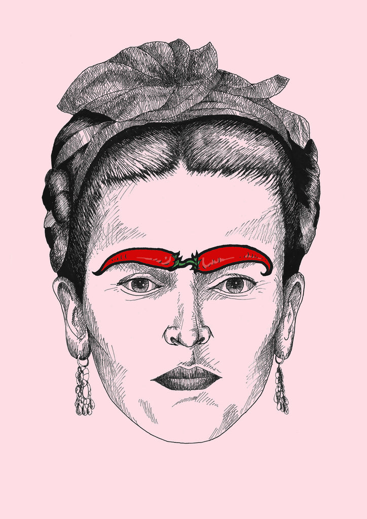 'Frida Kahlo with Chilli Eyebrows' Tshirt - Womens Pink
