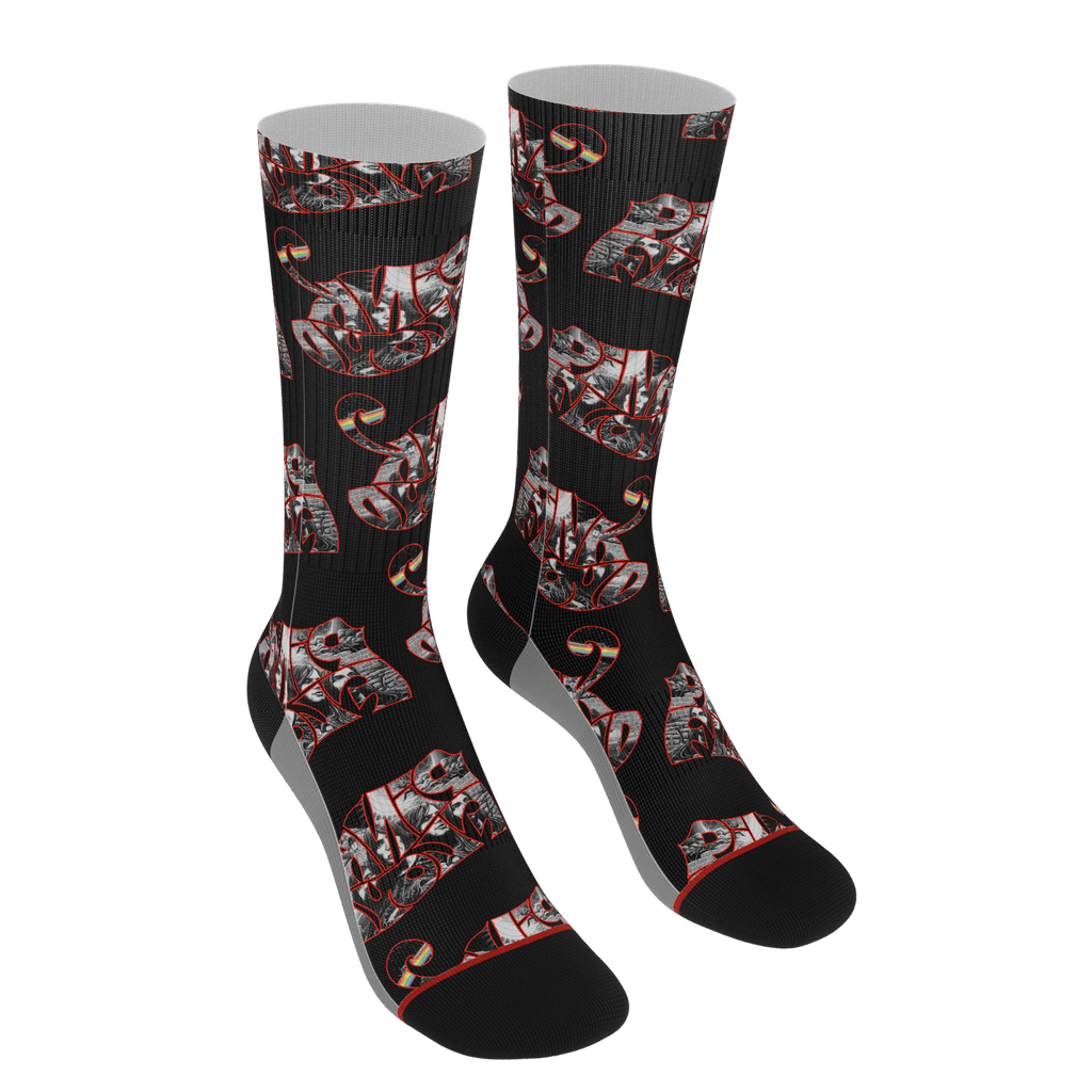 Floyd (red) Socks-Black