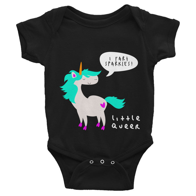 Little Queer Unicorn // I Fart Sparkles (Infant Bodysuit)