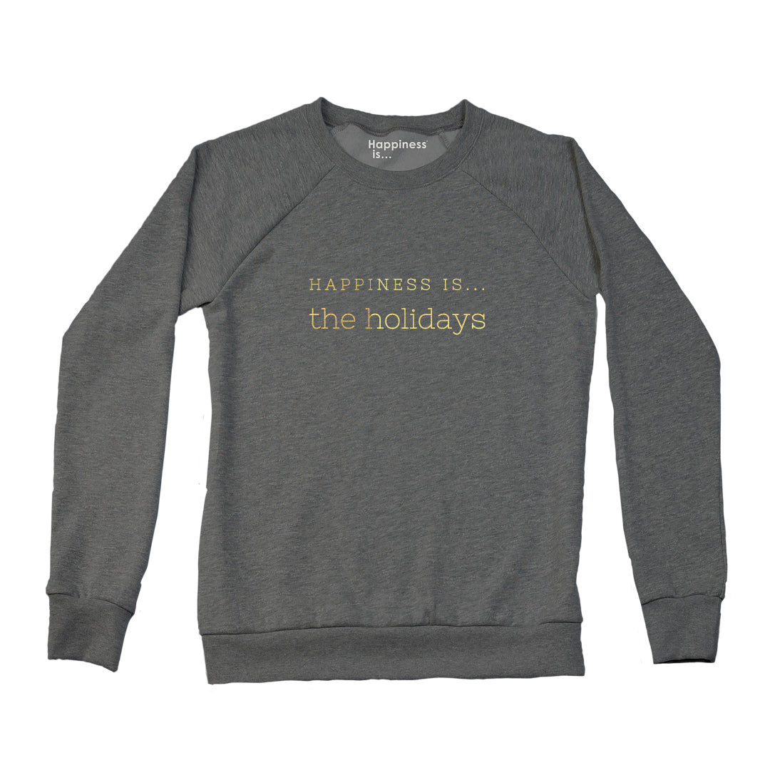 Women's Holiday Crew Sweatshirt, Charcoal with Gold Foil