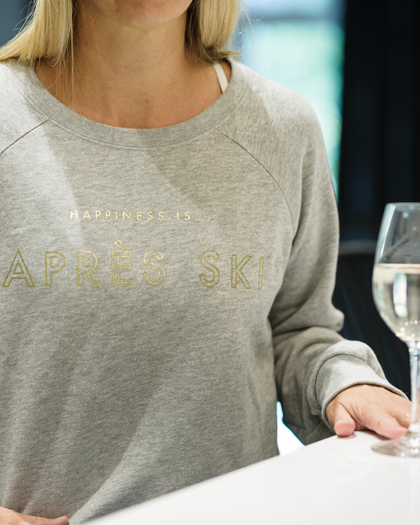 Women's Apres Crew Sweatshirt, Heather Grey with Gold
