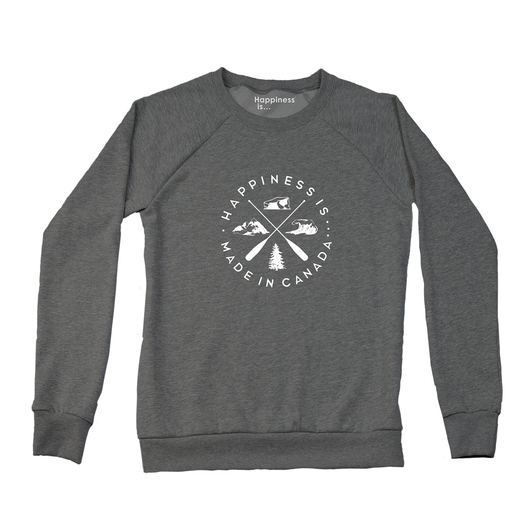 Women's Crest Crew Sweatshirt, Heather Charcoal