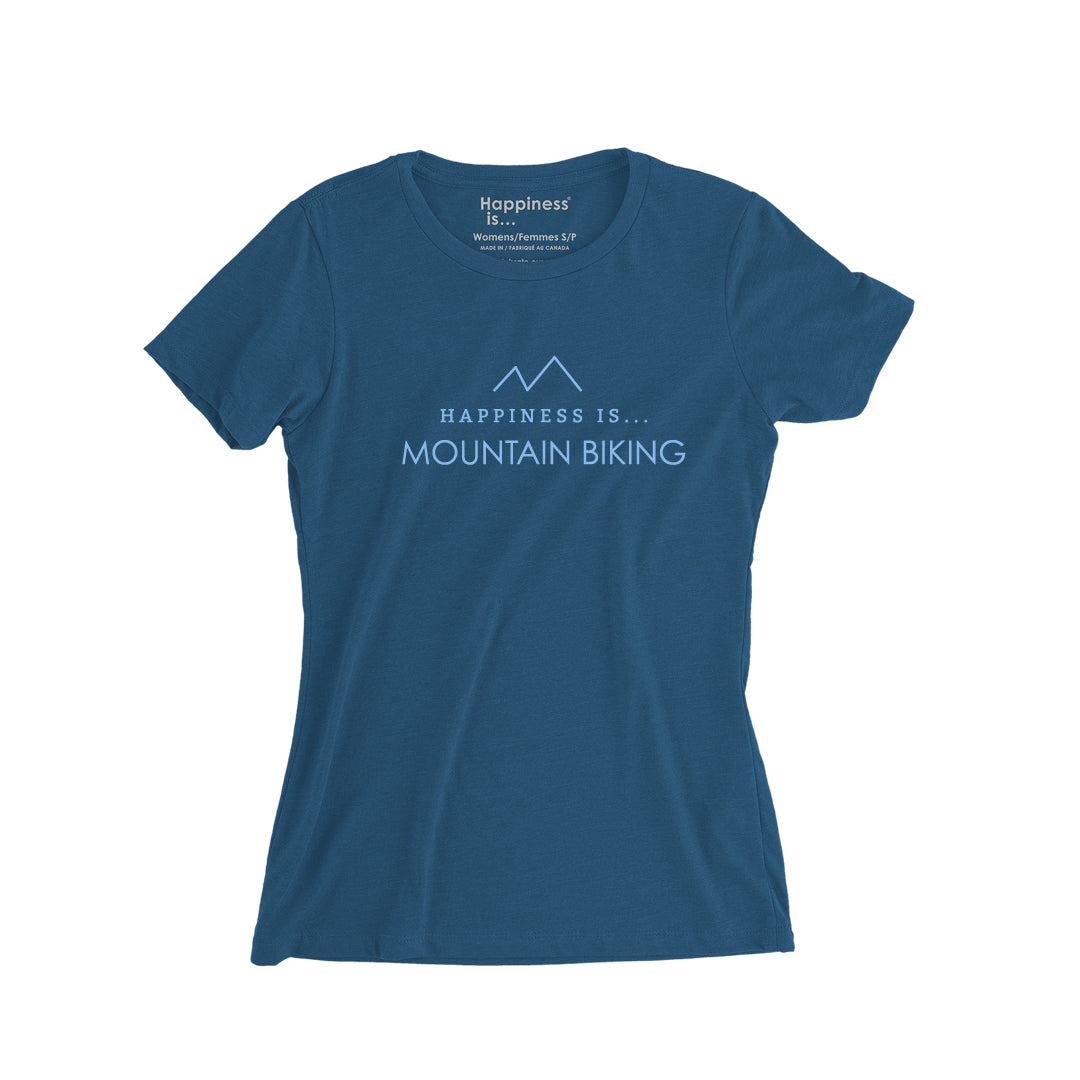 Women's Mountain Biking T-Shirt, Sea Blue
