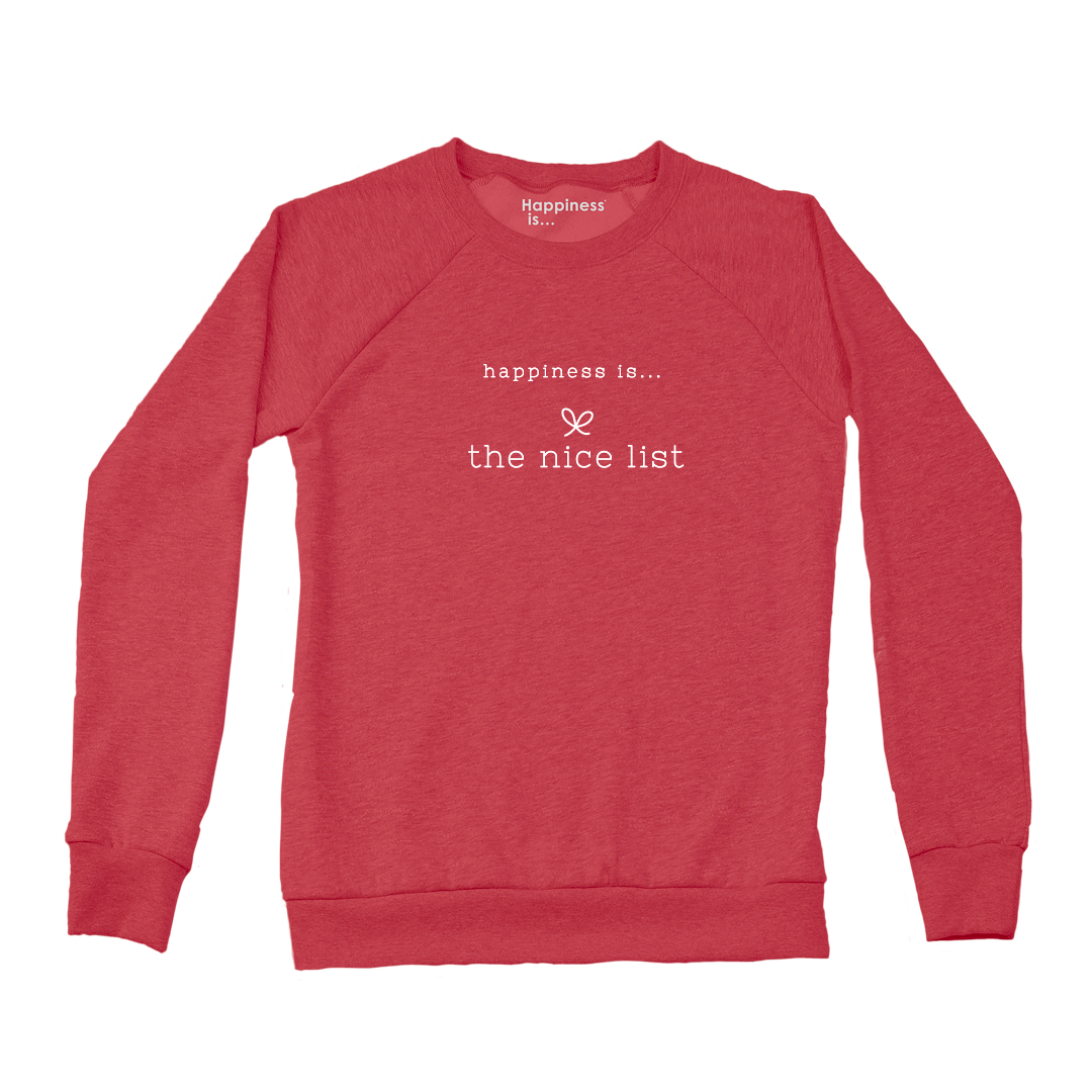 Women's Nice List Crew Sweatshirt, Chili