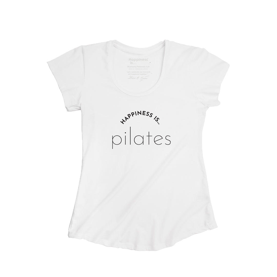 Women's Pilates Scoop T, White