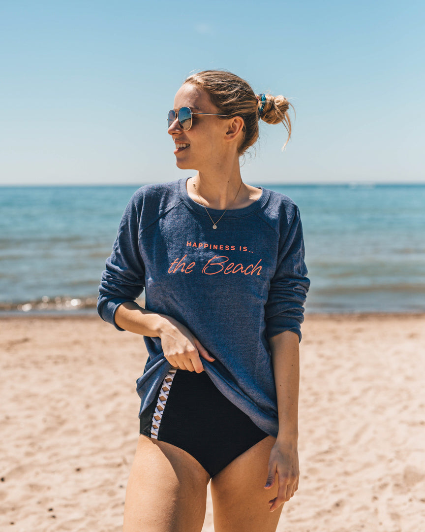 Women's Beach Crew Sweatshirt, Heather Navy