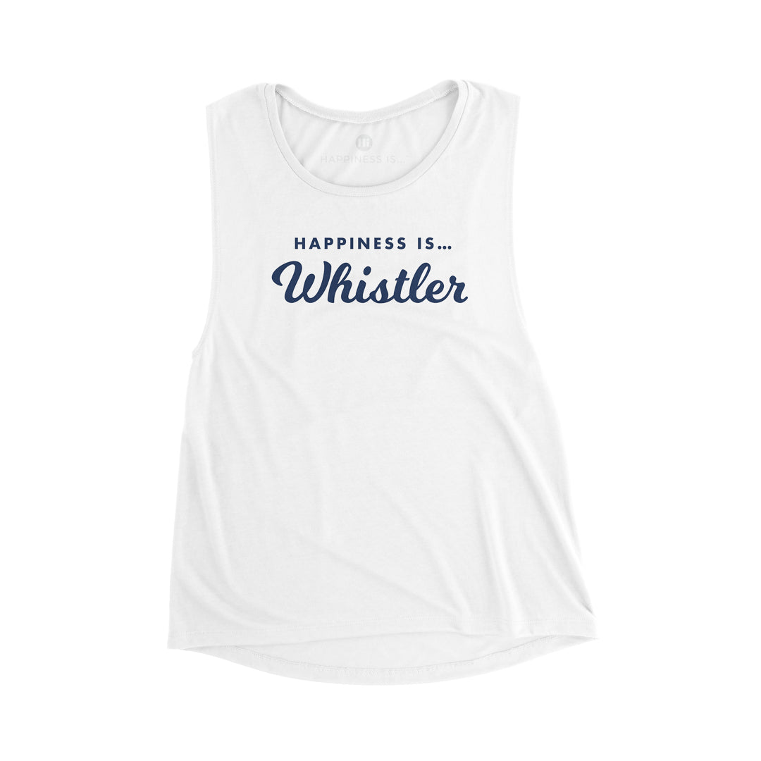 Women's Whistler Muscle T, White with Navy