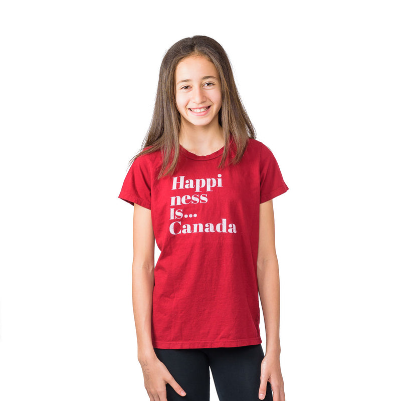 Youth Girls Happi T-Shirt, Canada Red